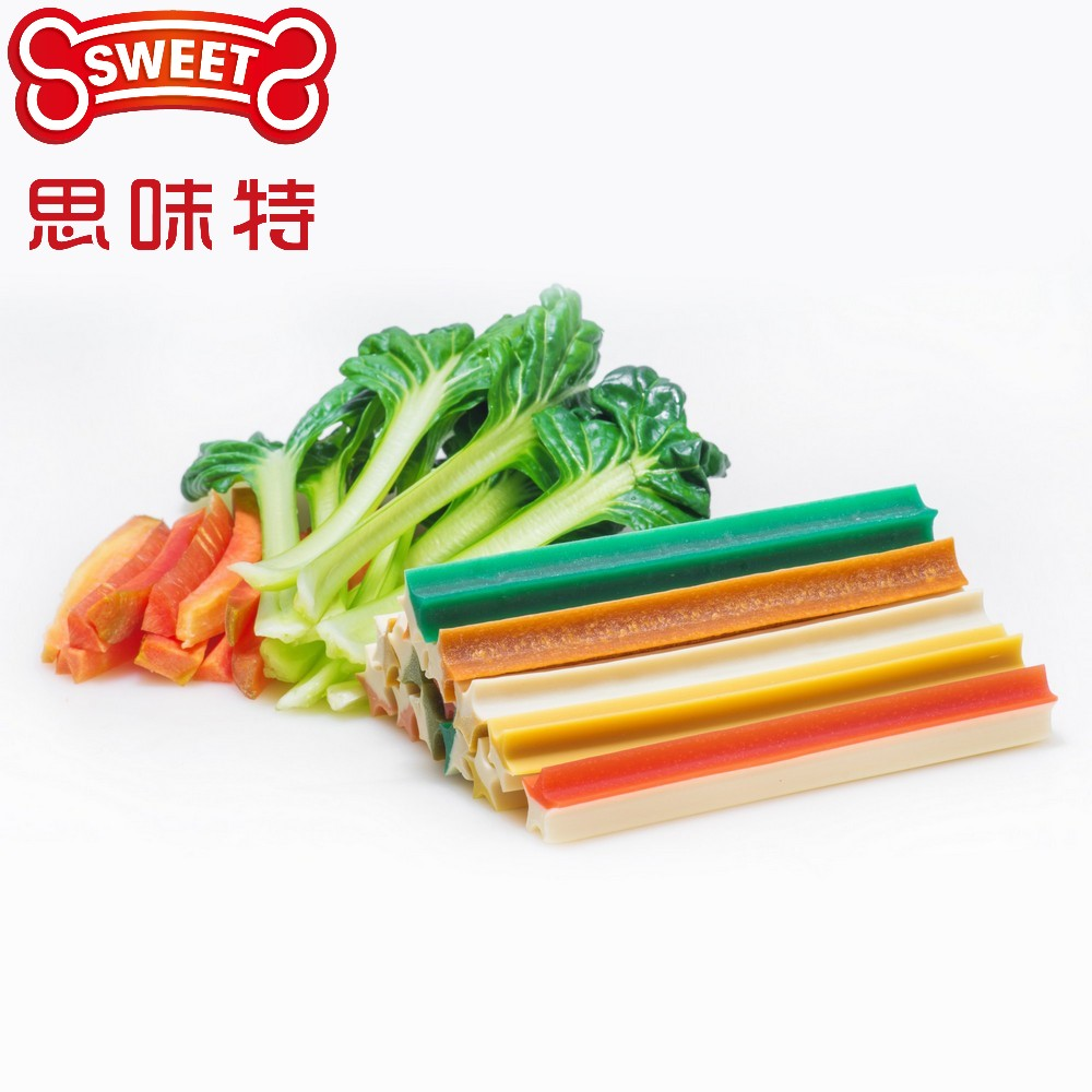 2-Colored Star Sticks Healthy Vegetable Treat  For Dental Care